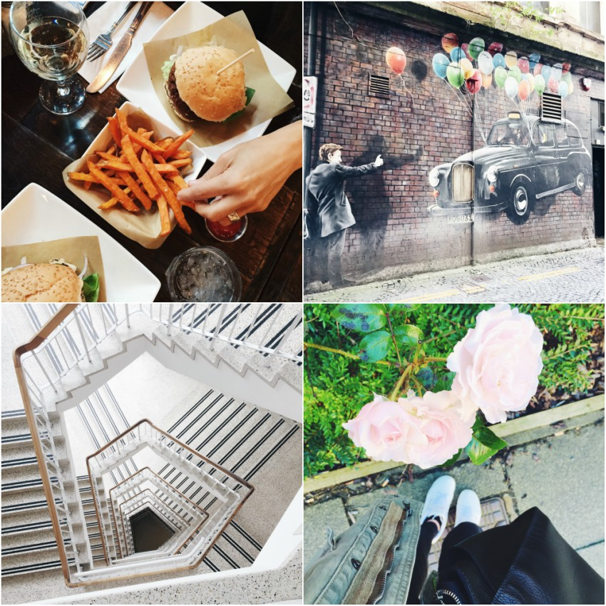 veggie burger, street art, roses
