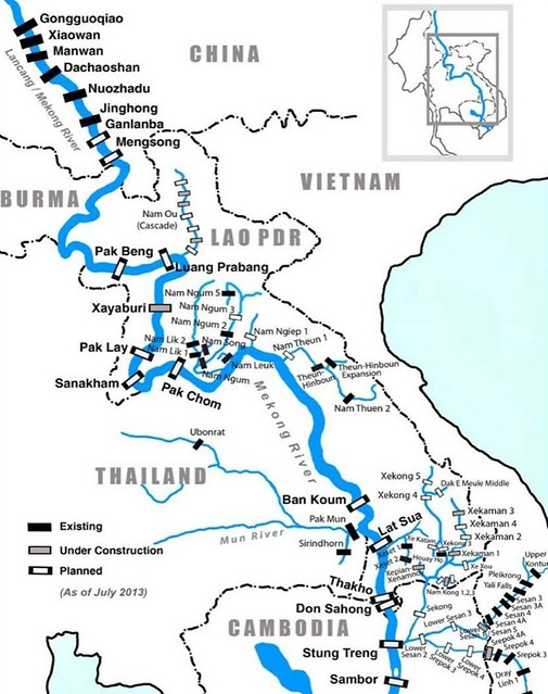 Existing and planned dams along the Mekong as of 2013. From thanhniennews.com