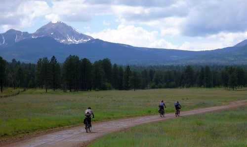 Riding toward the La Sals