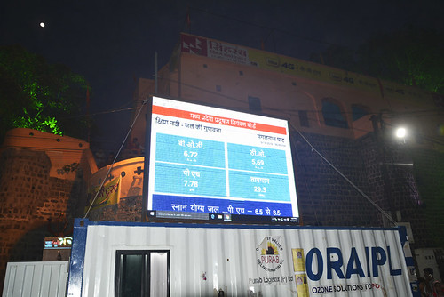 A display board shows water quality levels in Kshipra river