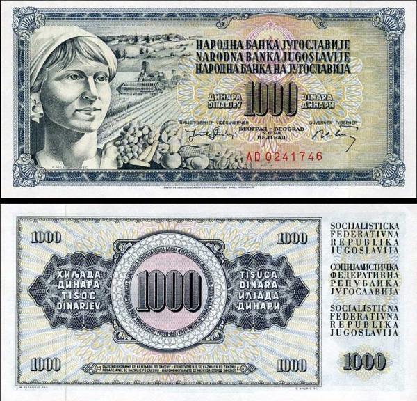 1000 Dinárov Juhoslávia 1974, P86
