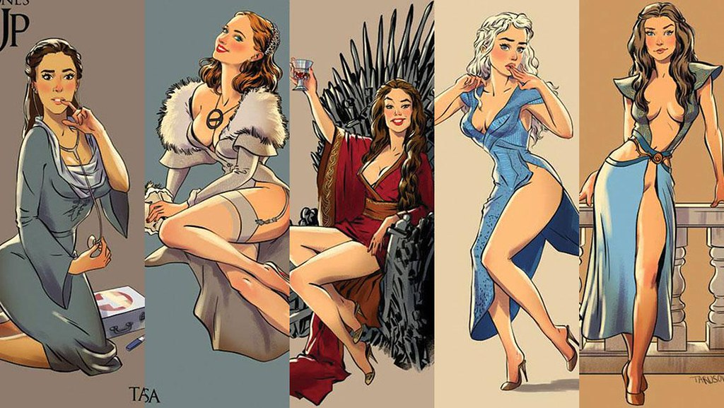 Risqué Game of Thrones pin-up girls by Andrew Tarusov