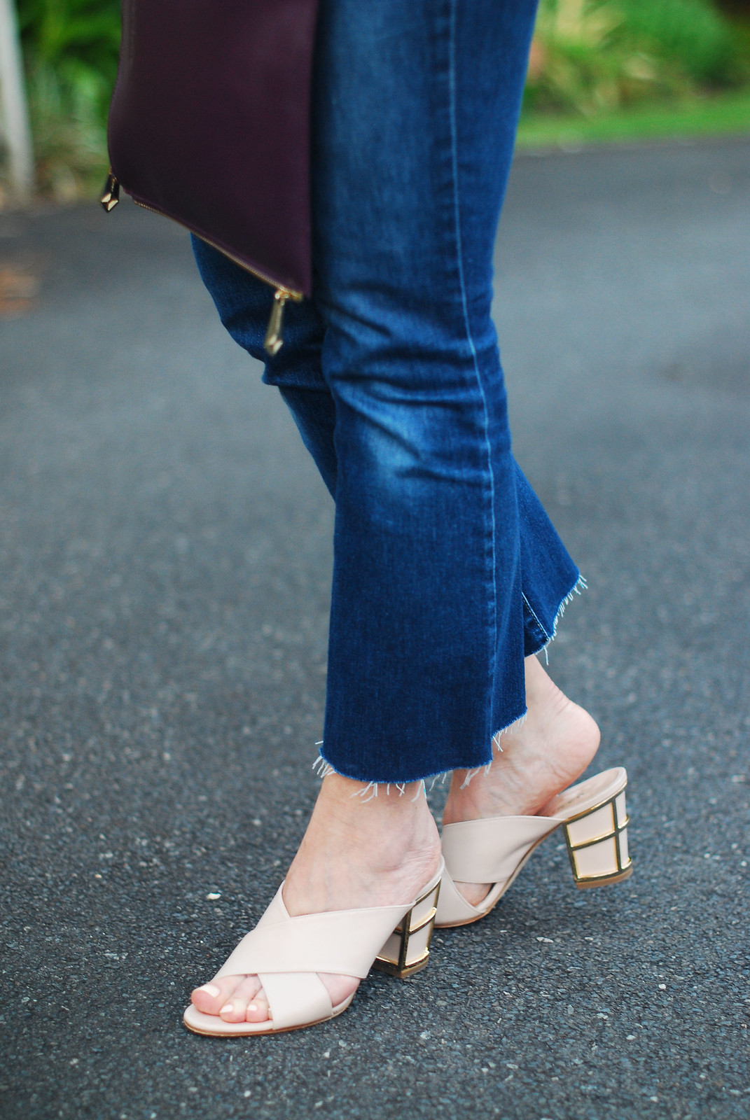 Gold cage heel nude mules, cropped flared jeans | Not Dressed As Lamb