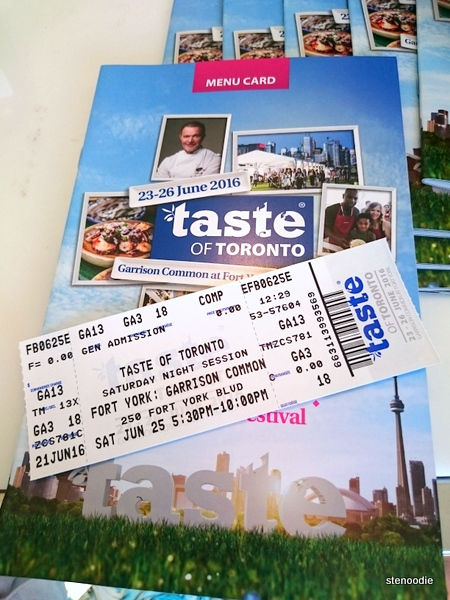 Taste of Toronto 2016 menu and ticket