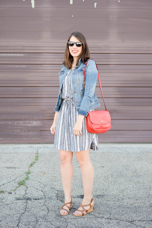 Old Navy blue and white stripe dress + denim jacket + red Coach purse + wedge sandals, casual summer outfit | Style On Target