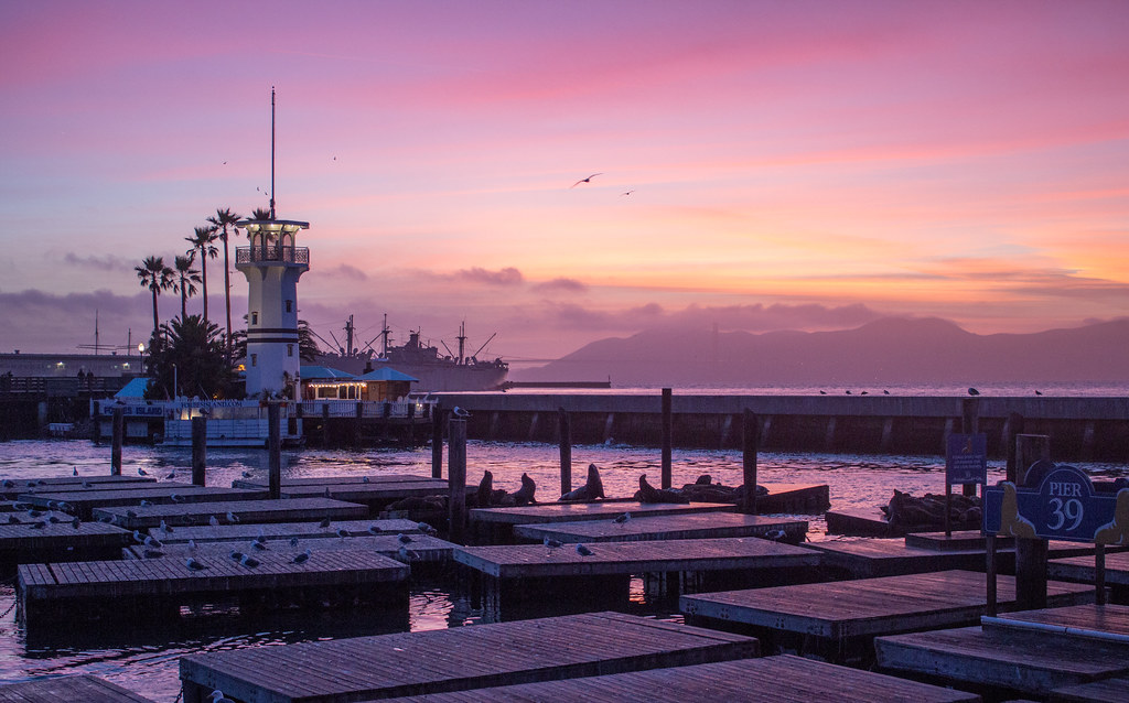 A pink sunset over the sea lions on Pier 39, San Francisco