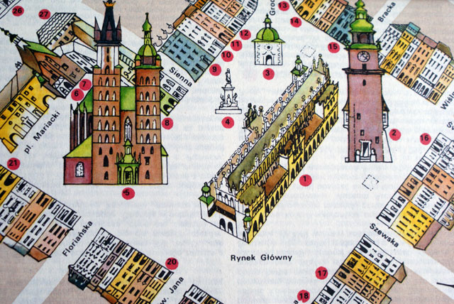 Illustration du Rynek de Cracovie : On reconnait à gauche l'église Notre Dame, au milieu la Halle aux draps et à gauche la tour de l'ancien Hotel de ville.