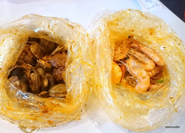 Clams and shrimp in plastic bags