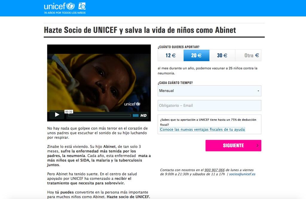 Captura de la web de captación de socios de Unicef España