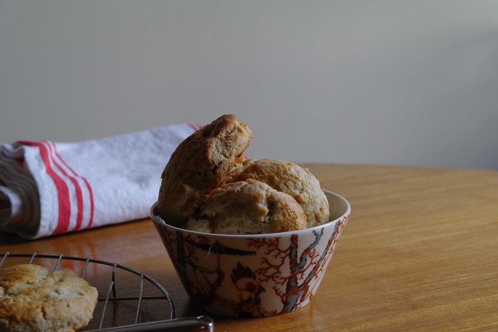 apricot cardamom spelt scones piled in bowl