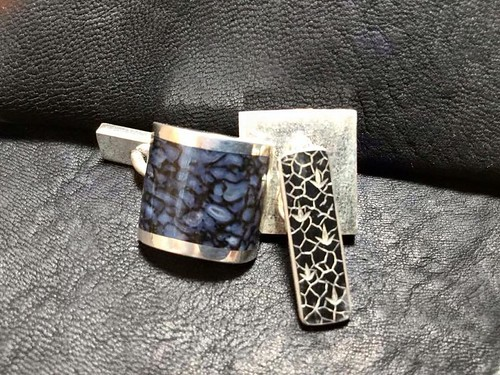 Hand engraved blue gembone cufflinks