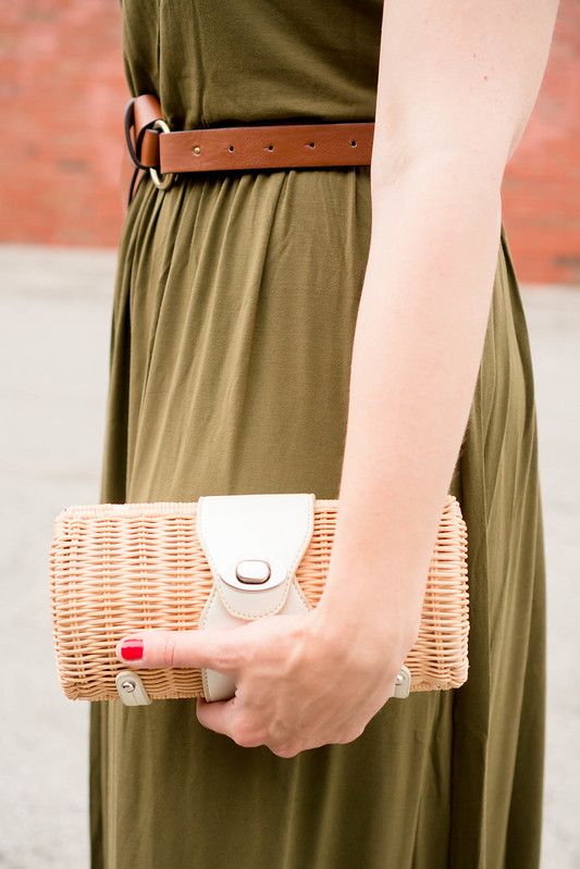 green Old Navy maxi dress + brown knot belt Target + wicker clutch + summer date night outfit | Style On Target