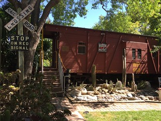 WP668 caboose and cactus arroyo, June 2016