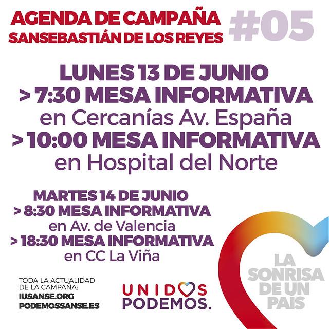 Agenda de Campaña #UnidosPodemos San Sebastián de los Reyes para las elecciones del 26J - Días 13 y 14 de Junio