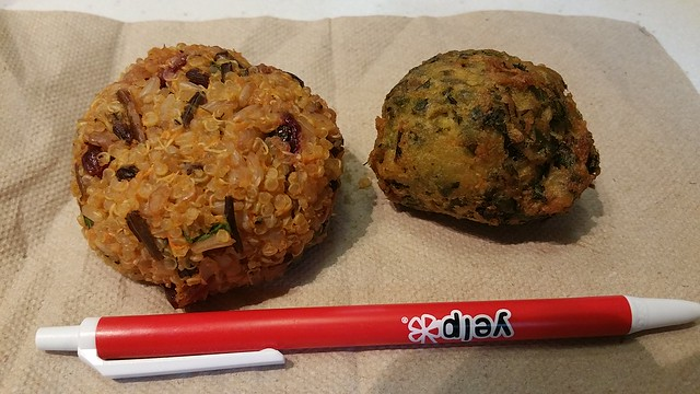 2016-Jul-9 Whole Foods - quinoa sweet potato cake, spinach pakora
