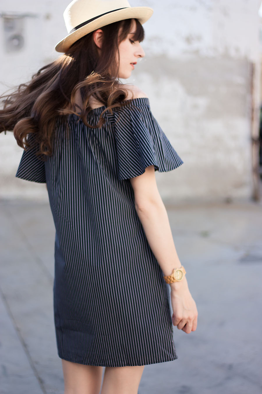 Banana Republic Summer Dress, Striped off the shoulder dress, Pinstriped Dress