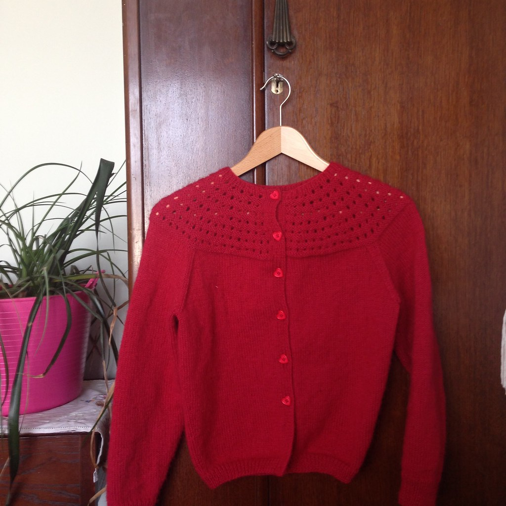 fluffy red yoke cardigan