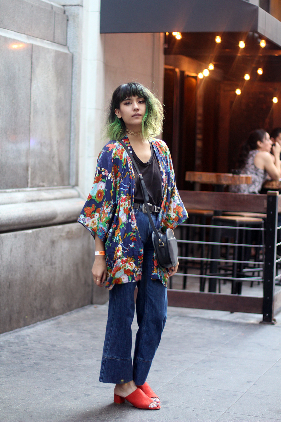 Vintage floral kimono, wood wood flared denim cropped jeans, green ombre hair, Mansur Gavriel mules Brick
