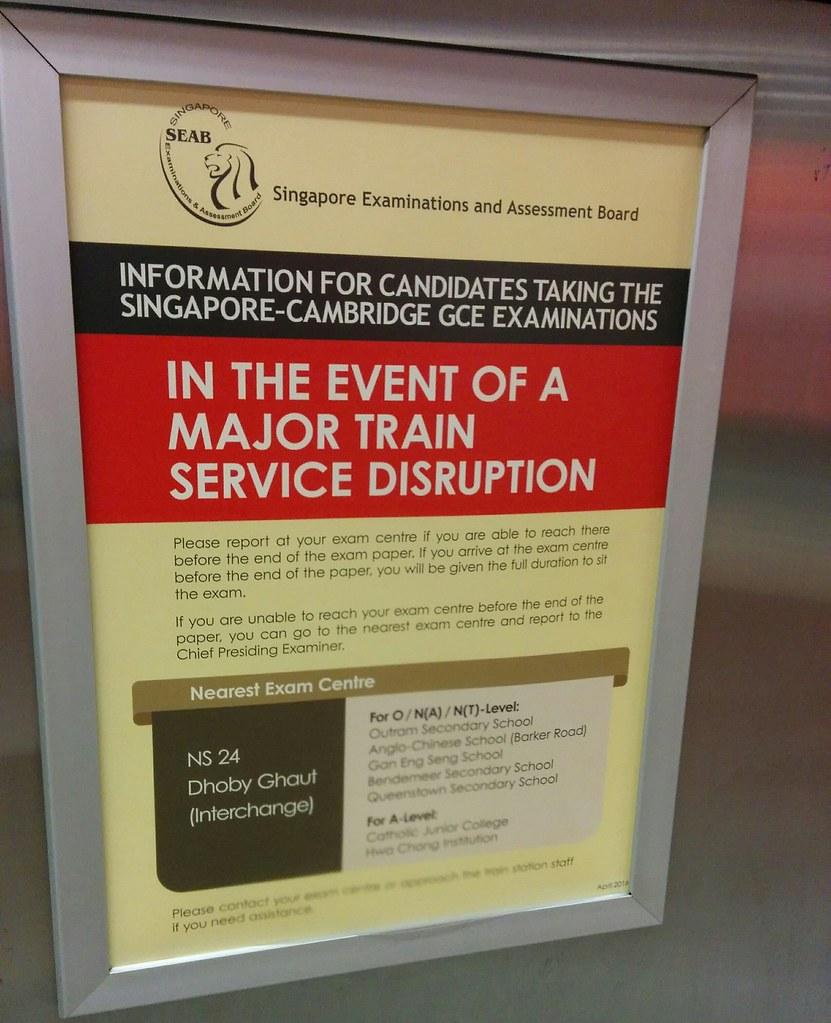Singapore MRT: Exam notice