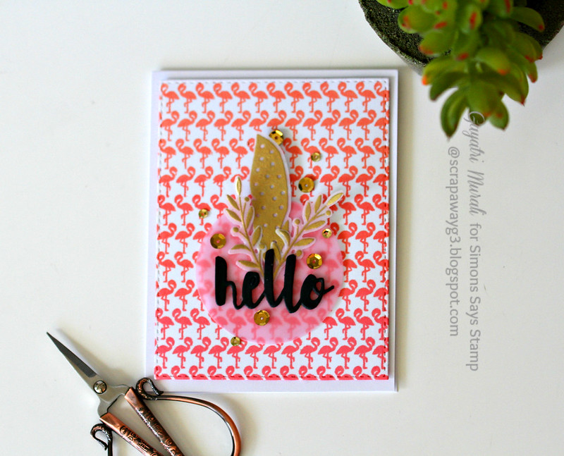 Hello flamingo card flat