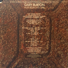 GARY BURTON:SEVEN SONGS FOR QUARTET AND CHAMBER ORCHESTRA(JACKET B)