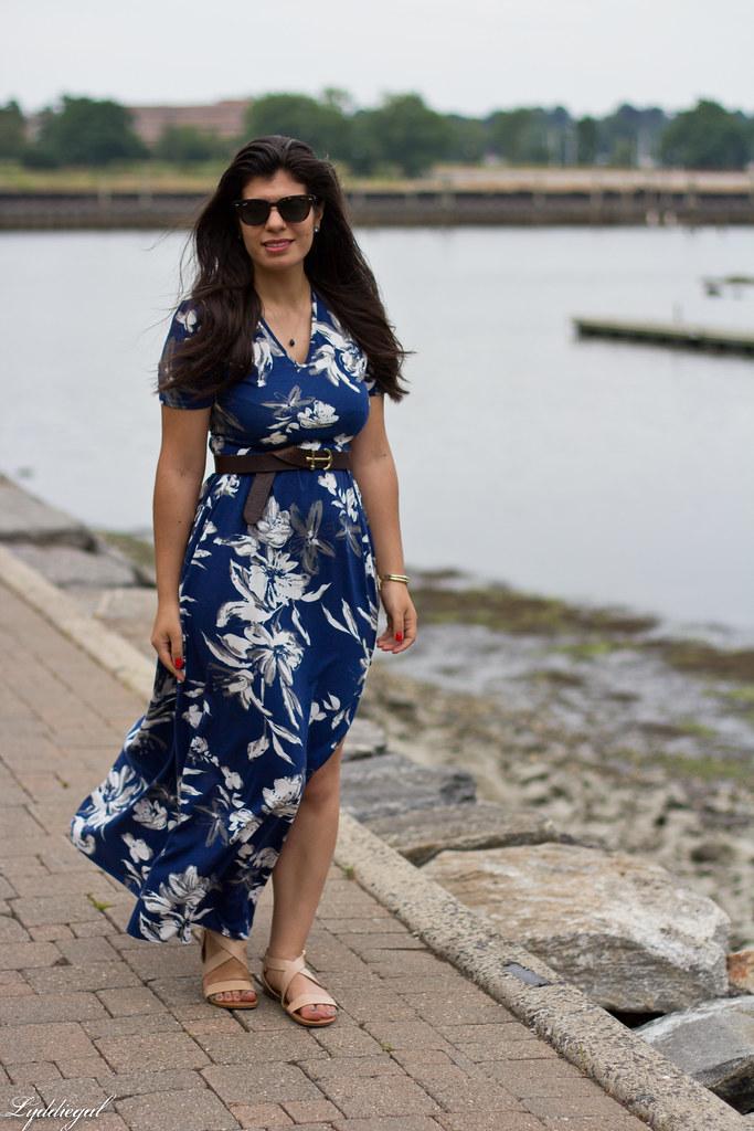 blue floral maxi dress, anchor belt, nude sandals.jpg