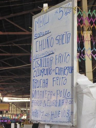 Menu at the market
