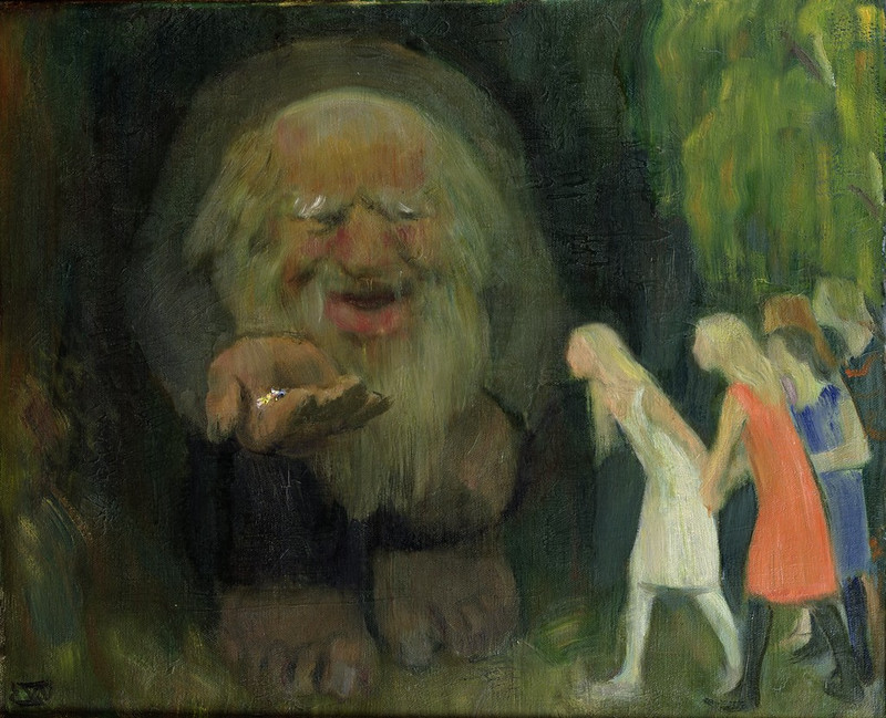 Erik Theodor Werenskiold - The Troll Lured the Girls with Gold