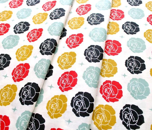 Birch Fabrics Tall Tales Stamped Rose Cream