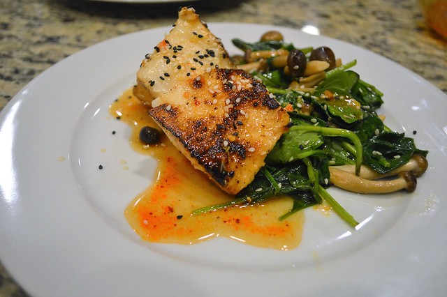 Chilean Sea Bass with Asian Glaze and Sesame Spinach