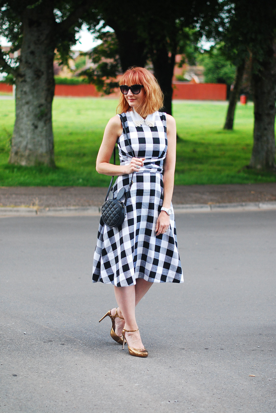 Classic summer dressing: Bardot-style gingham dress, bronze heels, pearl embellished collar | Not Dressed As Lamb