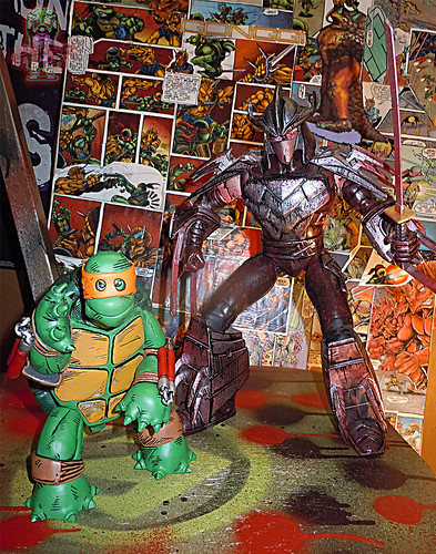 "MONDO; Nickelodeon TEENAGE MUTANT NINJA TURTLES ; THE FIRST TURTLE (ORANGE MASK EDITION) x / ..with Playmates 11"" Battle Shell SHREDDER 2014 (( 2016 ))"