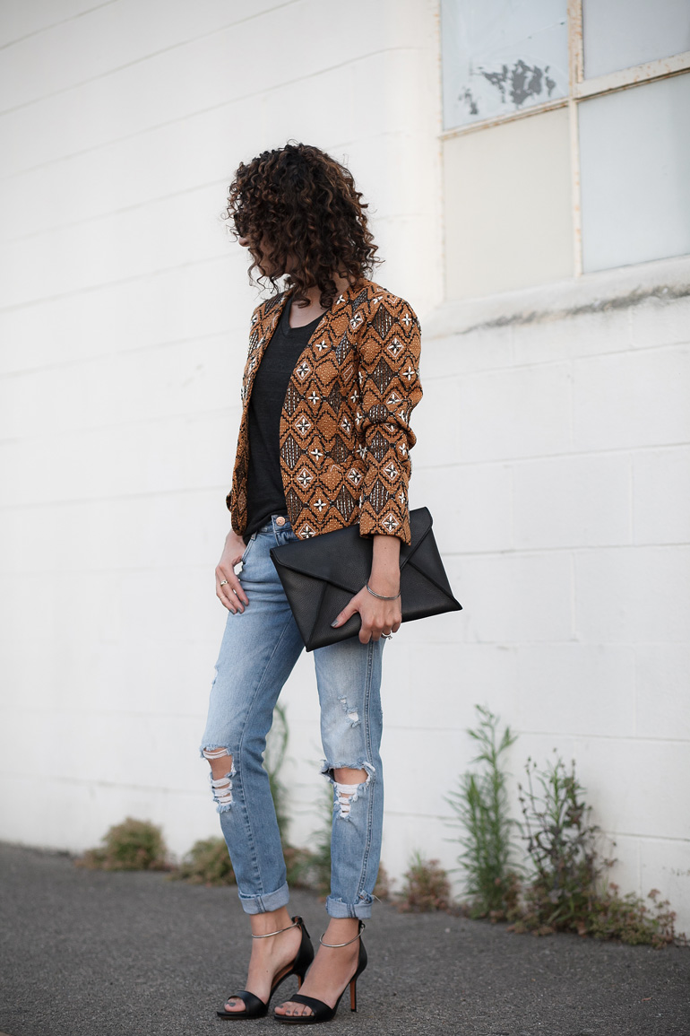 Banana Republic collarless jacquard jacket, Givenchy heels, Zara jeans