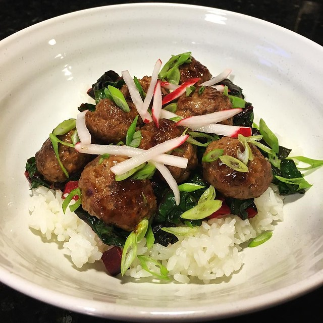 Soy-glazed meatballs. #blueapron