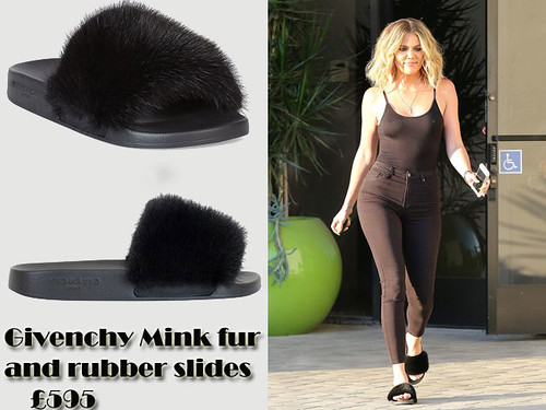 Khloe in Givenchy Mink fur and rubber slides & high waisted jeans