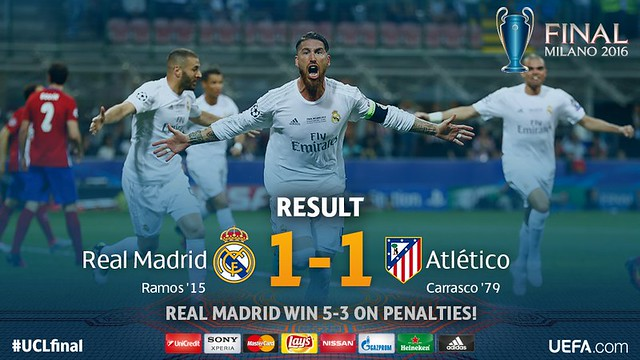 Champions League (Final): Real Madrid 1 - Atlético de Madrid 1 (5-3)