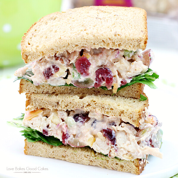 Lighter Chicken Salad Sandwiches on a plate close up.