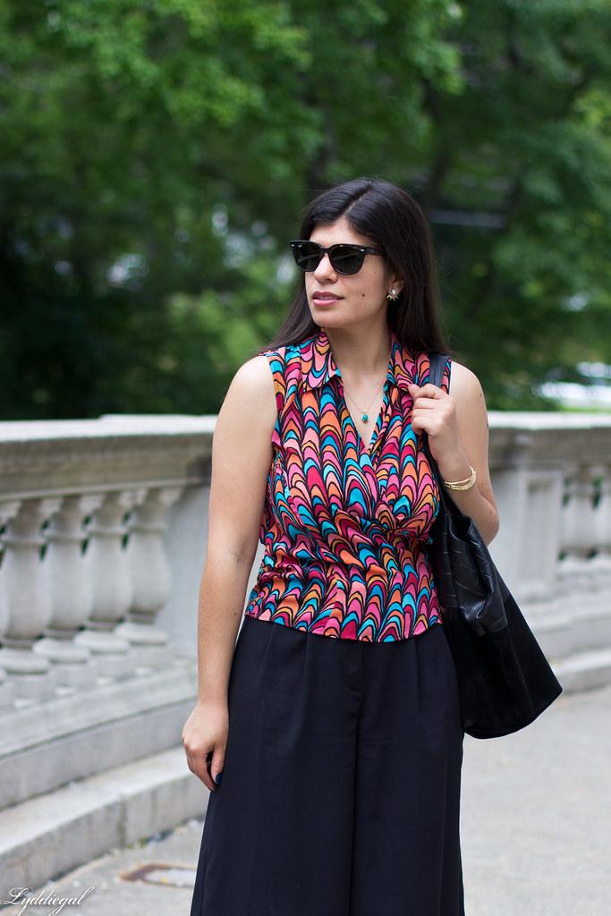 scallop print wrap blouse, black culottes, nude platform sandals-2.jpg