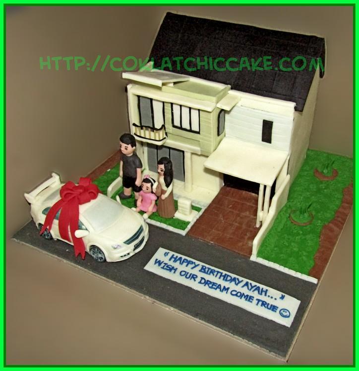 Cake rumah dengan Mobil
