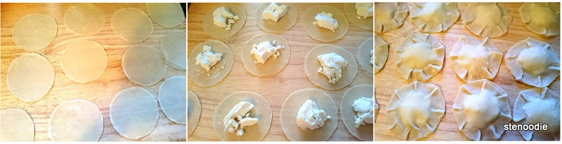 Dumpling wrappers with goat cheese