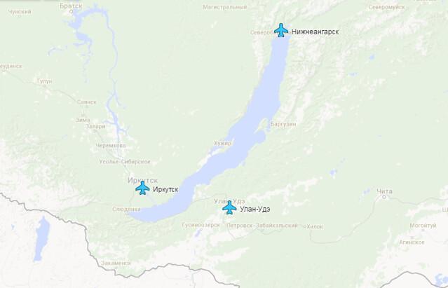 Города на побережье Байкала, где есть аэропорты