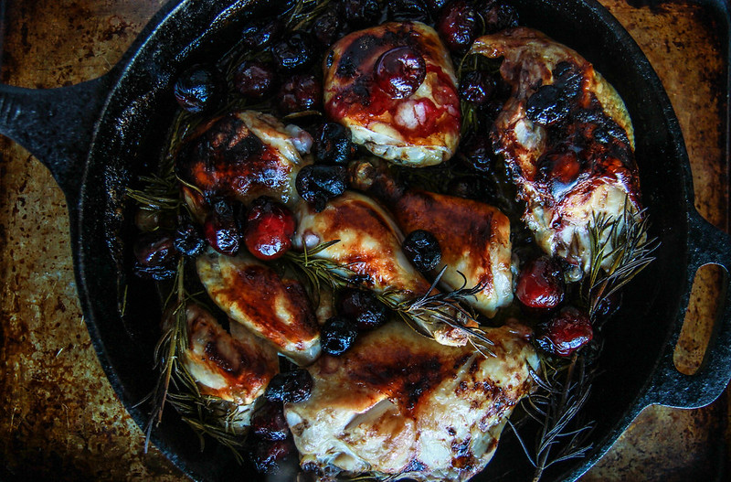 Rosemary Cherry Balsamic Roast Chicken from HeatherChristo.com