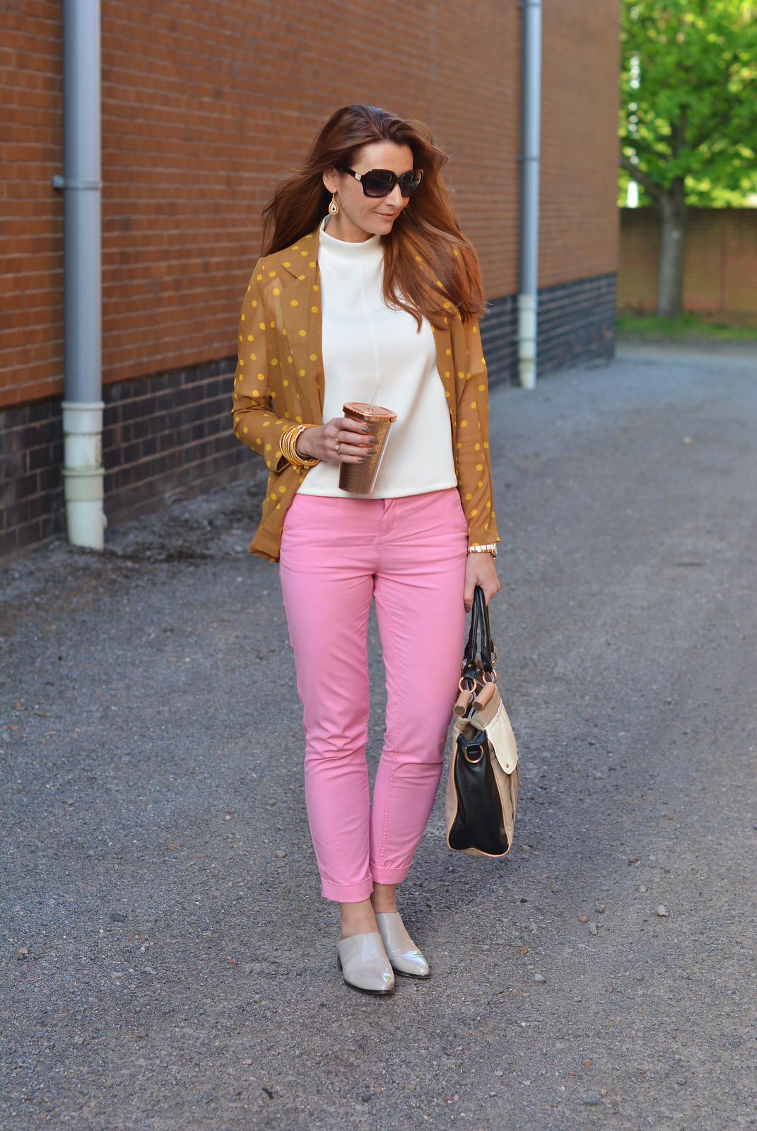 Springtime brights: Mustard polka dot blazer, pink chinos, taupe mules