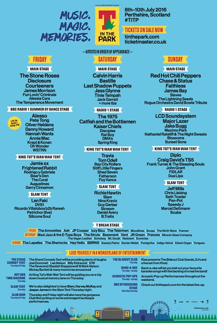 T Break at T In The Park Line Up