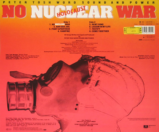 "Peter Tosh - No Nuclear War 12"" vinyl LP album"