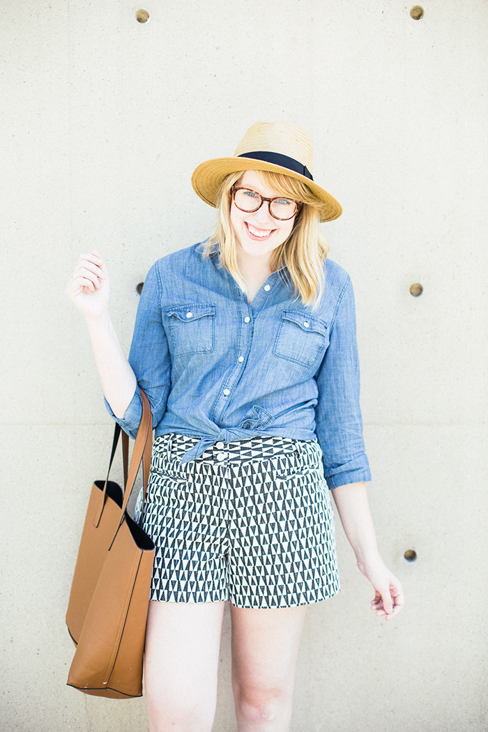 printed shorts chambray shirt1