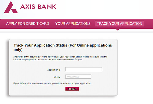 Axis bank credit card application status
