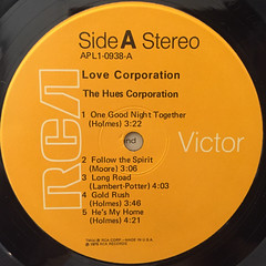 THE HUES CORPORATION:LOVE CORPORATION(LABEL SIDE-A)