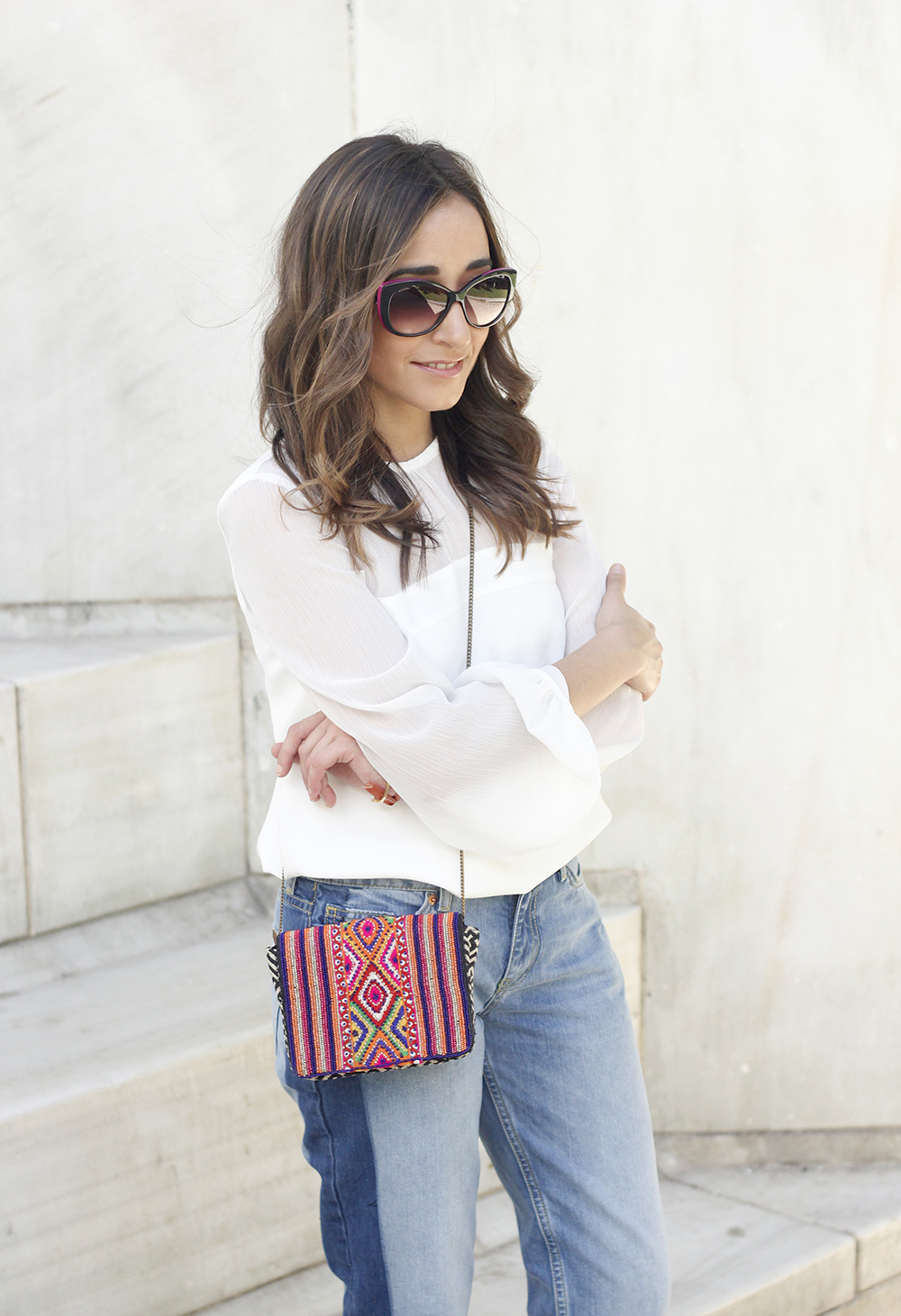 Boyfriend Jeans With Asymmetrical Hems white blouse carolina herrera heels daydaday bag outfit style streetstyle21