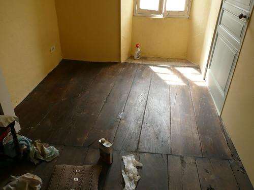 Waxing the Bedroom floor